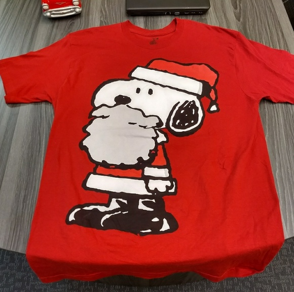 Peanuts Other - SANTA SNOOPY T-SHIRT - Peanuts Tee L - xmas red